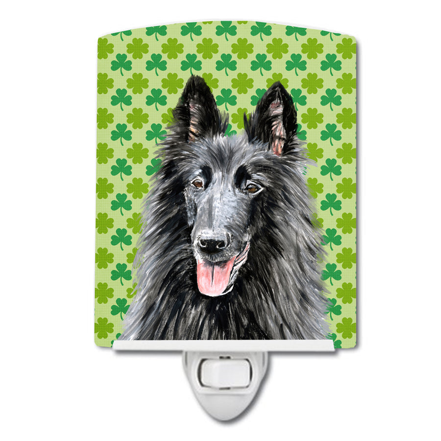 Buy this Belgian Sheepdog St. Patrick's Day Shamrock Portrait Ceramic Night Light SC9318CNL