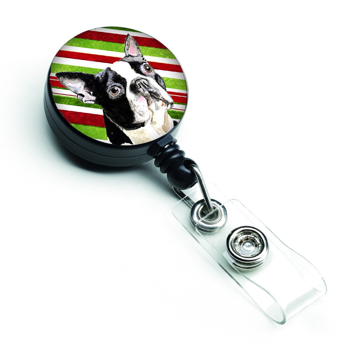 Boston Terrier Candy Cane Holiday Christmas Retractable Badge Reel SC9320BR by Caroline's Treasures