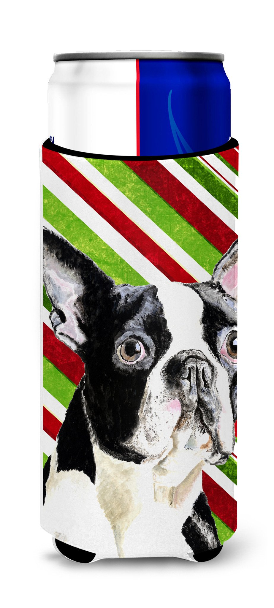 Boston Terrier Candy Cane Holiday Christmas Ultra Beverage Insulators for slim cans SC9320MUK by Caroline's Treasures