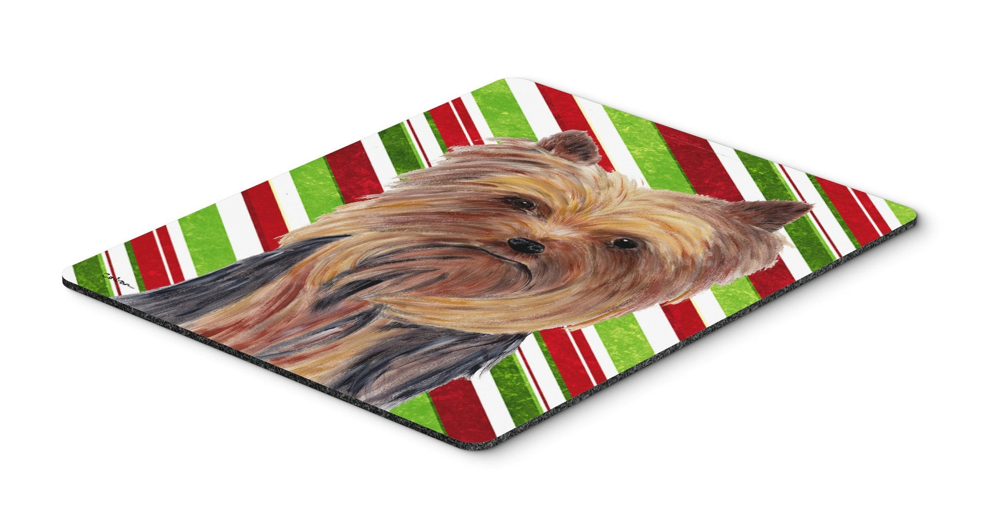 Buy this Yorkie Candy Cane Holiday Christmas Mouse Pad, Hot Pad or Trivet