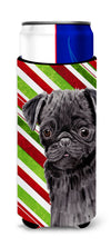 Pug Candy Cane Holiday Christmas Ultra Beverage Insulators for slim cans SC9326MUK by Caroline's Treasures