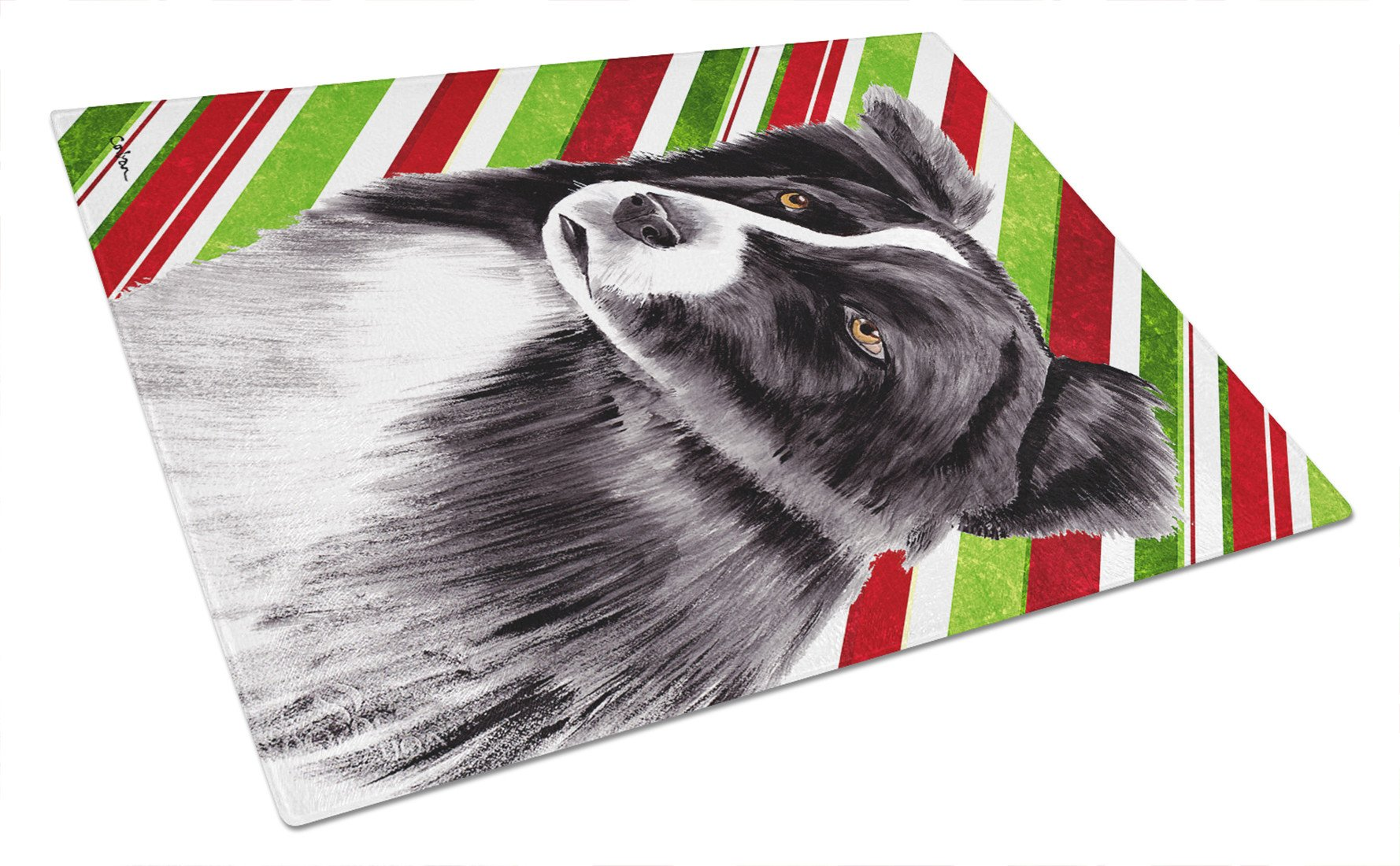 Border Collie Candy Cane Holiday Christmas Glass Cutting Board Large by Caroline's Treasures