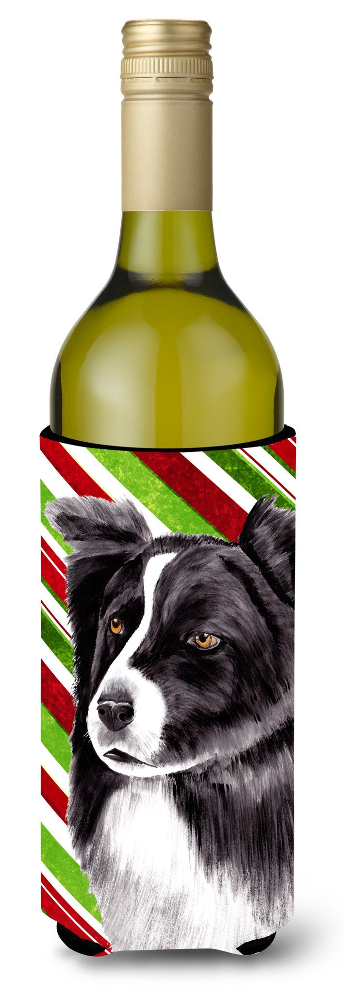 Border Collie Candy Cane Holiday Christmas Wine Bottle Beverage Insulator Beverage Insulator Hugger by Caroline's Treasures