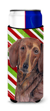 Dachshund Candy Cane Holiday Christmas Ultra Beverage Insulators for slim cans SC9328MUK by Caroline's Treasures