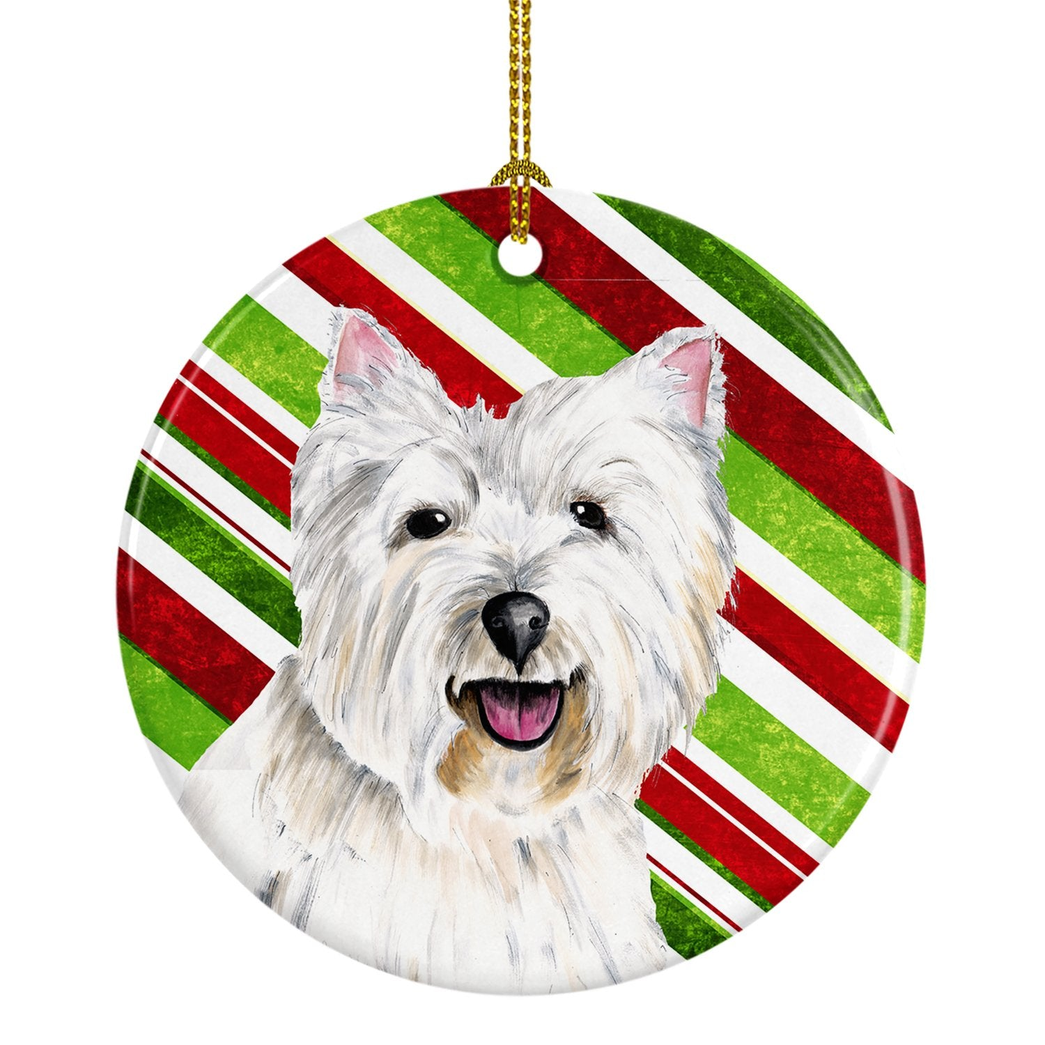Westie Candy Cane Holiday Christmas  Ceramic Ornament SC9330 by Caroline's Treasures