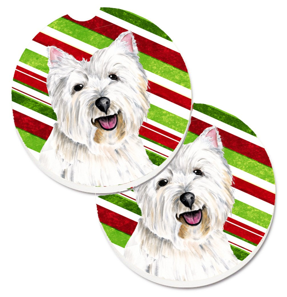 Westie Candy Cane Holiday Christmas Set of 2 Cup Holder Car Coasters SC9330CARC by Caroline's Treasures