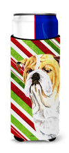 Bulldog English Candy Cane Holiday Christmas Ultra Beverage Insulators for slim cans SC9334MUK by Caroline's Treasures