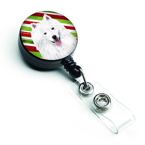 Buy this American Eskimo Candy Cane Holiday Christmas Retractable Badge Reel SC9339BR