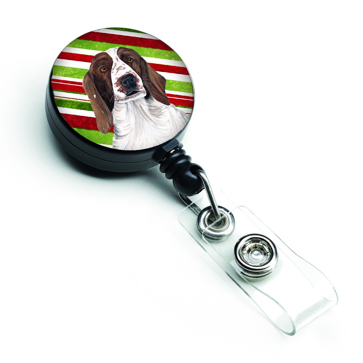 Welsh Springer Spaniel Candy Cane Holiday Christmas Retractable Badge Reel SC9340BR by Caroline's Treasures