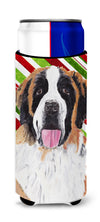 Saint Bernard Candy Cane Holiday Christmas Ultra Beverage Insulators for slim cans SC9342MUK by Caroline's Treasures