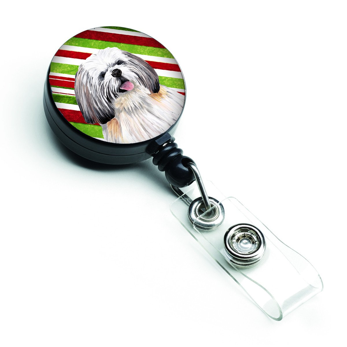 Shih Tzu Candy Cane Holiday Christmas Retractable Badge Reel SC9343BR by Caroline's Treasures