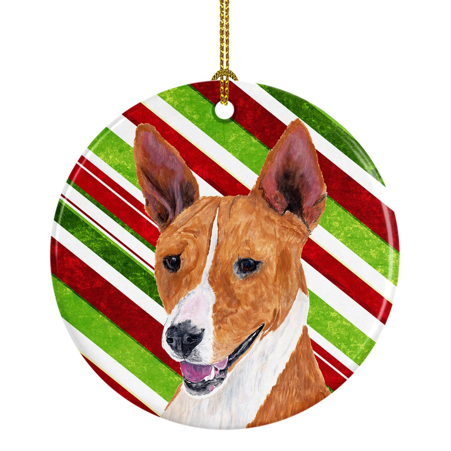 Basenji Candy Cane Holiday Christmas  Ceramic Ornament SC9347 by Caroline's Treasures