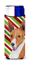 Basenji Candy Cane Holiday Christmas Ultra Beverage Insulators for slim cans SC9347MUK by Caroline's Treasures