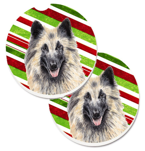 Buy this Belgian Tervuren Candy Cane Holiday Christmas Set of 2 Cup Holder Car Coasters SC9352CARC