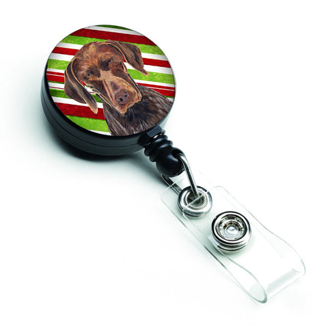 Buy this German Shorthaired Pointer Candy Cane Holiday Christmas Retractable Badge Reel SC9355BR