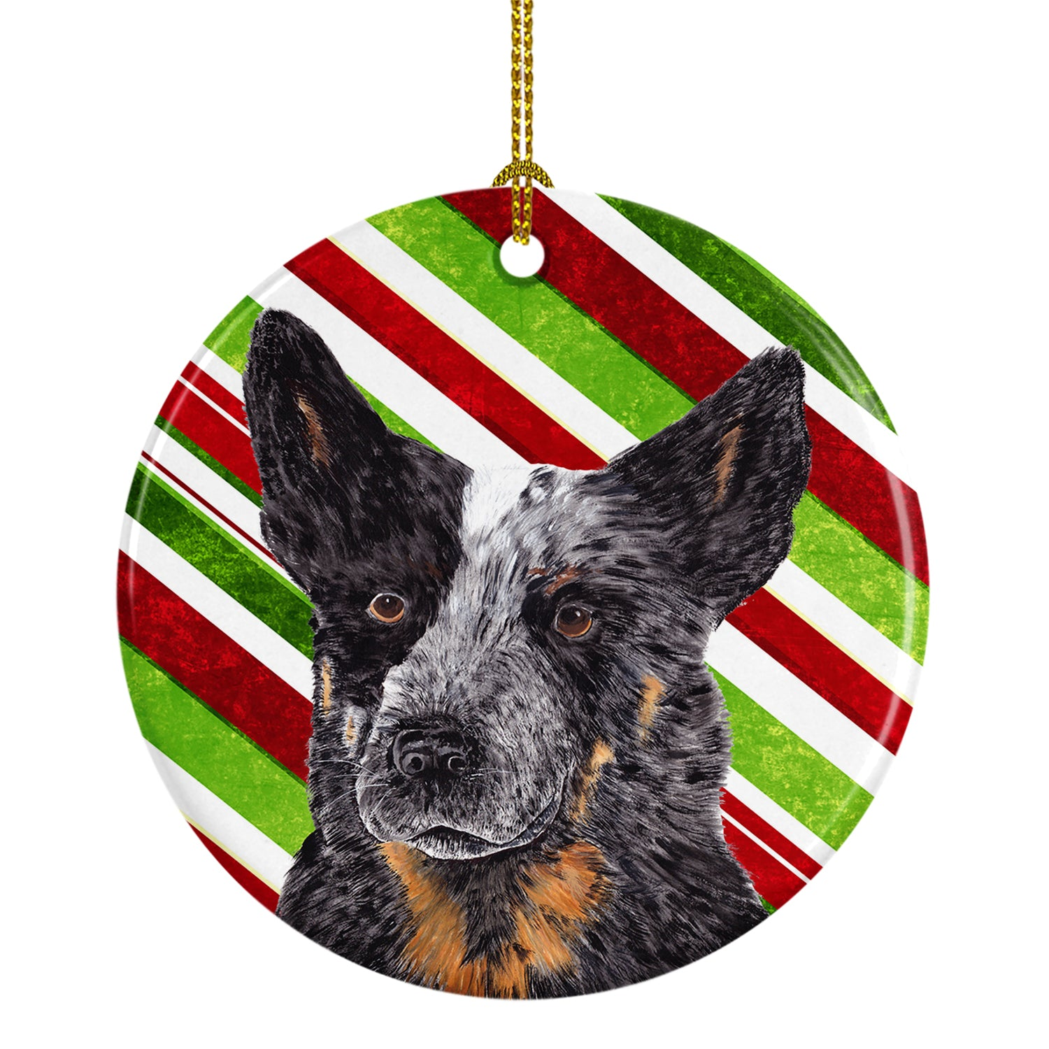Australian Cattle Dog Candy Cane Holiday Christmas  Ceramic Ornament SC9356 by Caroline's Treasures