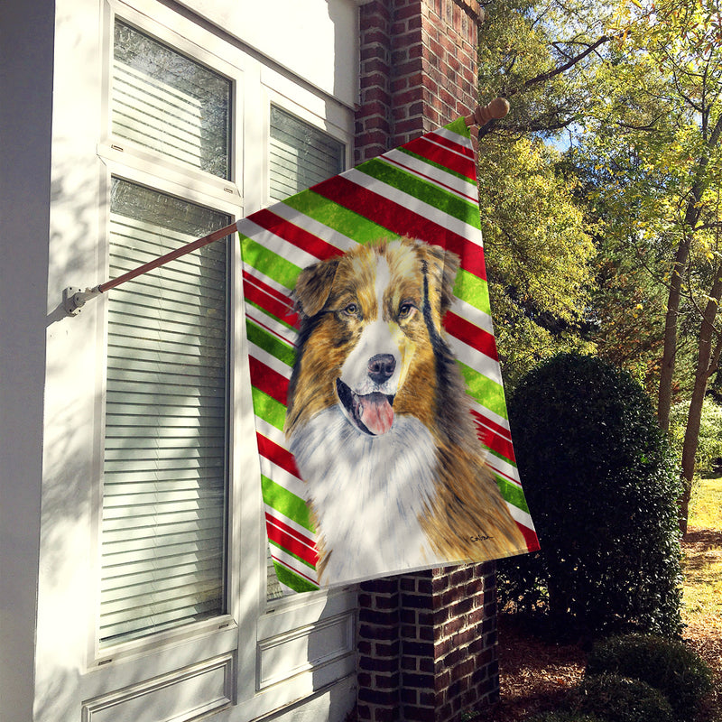 Buy this Australian Shepherd Candy Cane Holiday Christmas Flag Canvas House Size