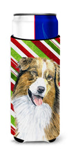 Australian Shepherd Candy Cane Holiday Christmas Ultra Beverage Insulators for slim cans SC9357MUK by Caroline's Treasures