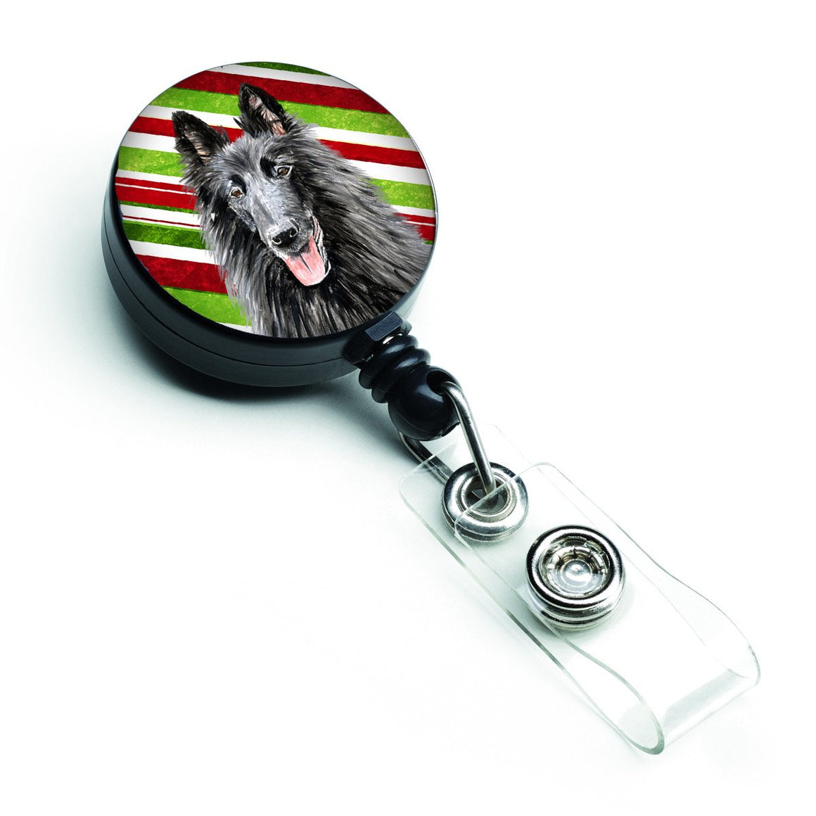 Buy this Belgian Sheepdog Candy Cane Holiday Christmas Retractable Badge Reel SC9358BR