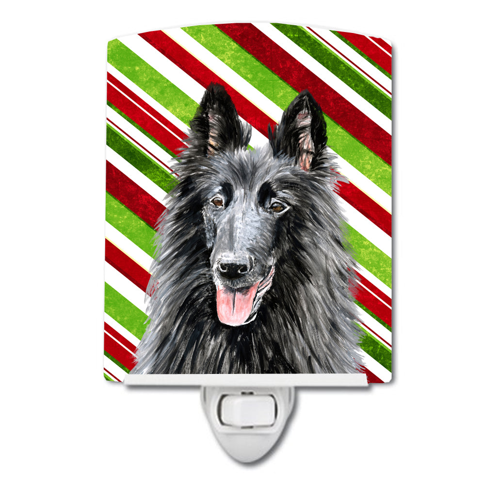 Buy this Belgian Sheepdog Candy Cane Holiday Christmas Ceramic Night Light SC9358CNL
