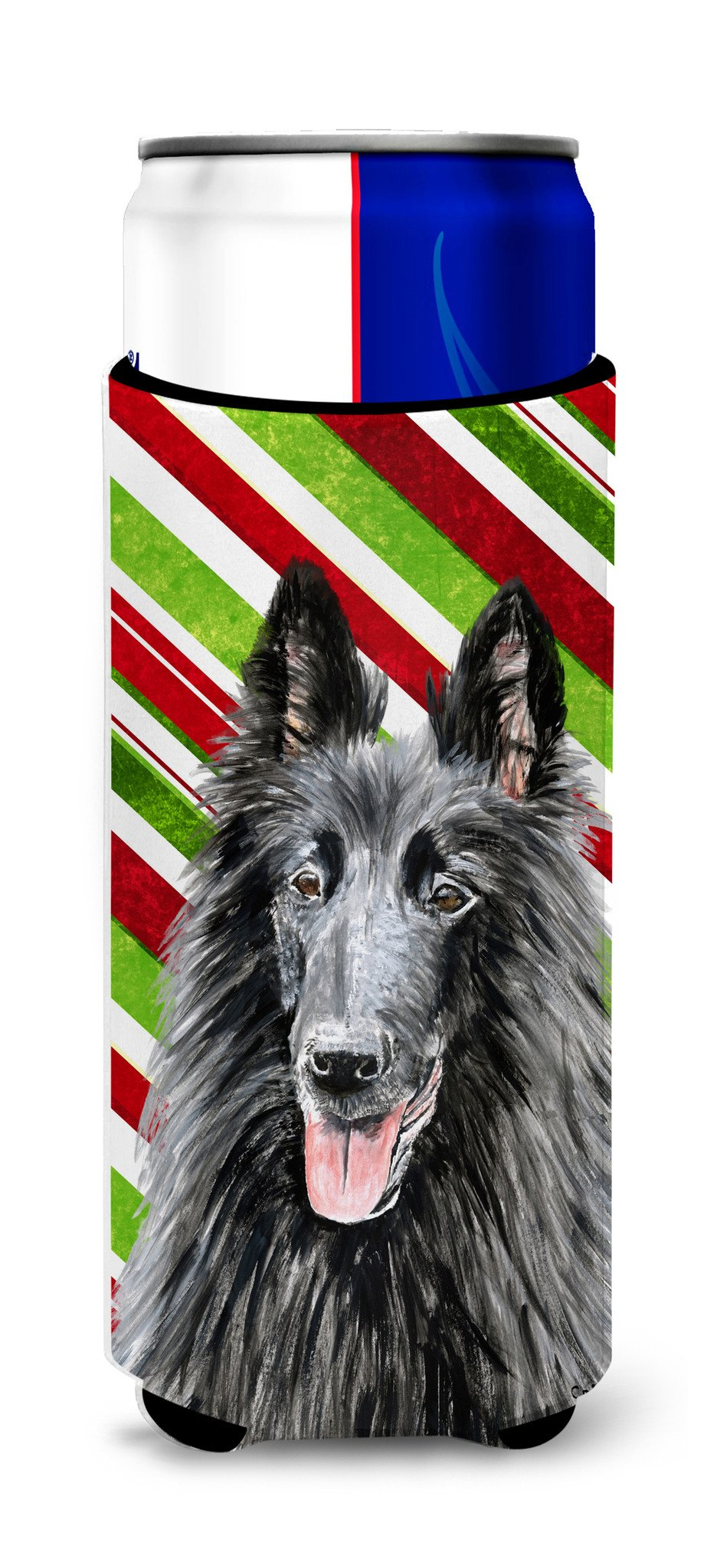 Belgian Sheepdog Candy Cane Holiday Christmas Ultra Beverage Insulators for slim cans SC9358MUK by Caroline's Treasures