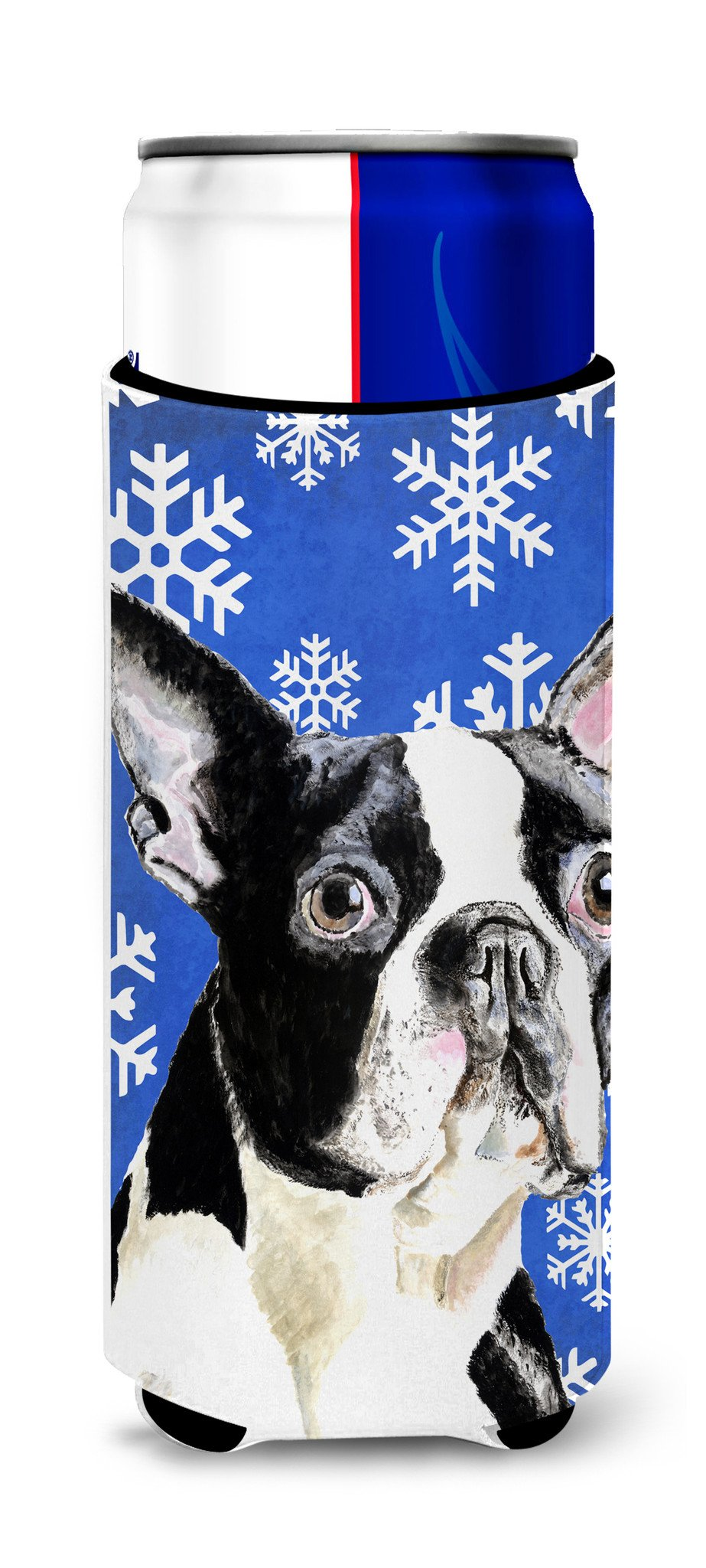 Boston Terrier Winter Snowflakes Holiday Ultra Beverage Insulators for slim cans SC9360MUK by Caroline's Treasures