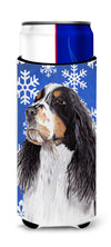 Springer Spaniel Winter Snowflakes Holiday Ultra Beverage Insulators for slim cans SC9361MUK by Caroline's Treasures