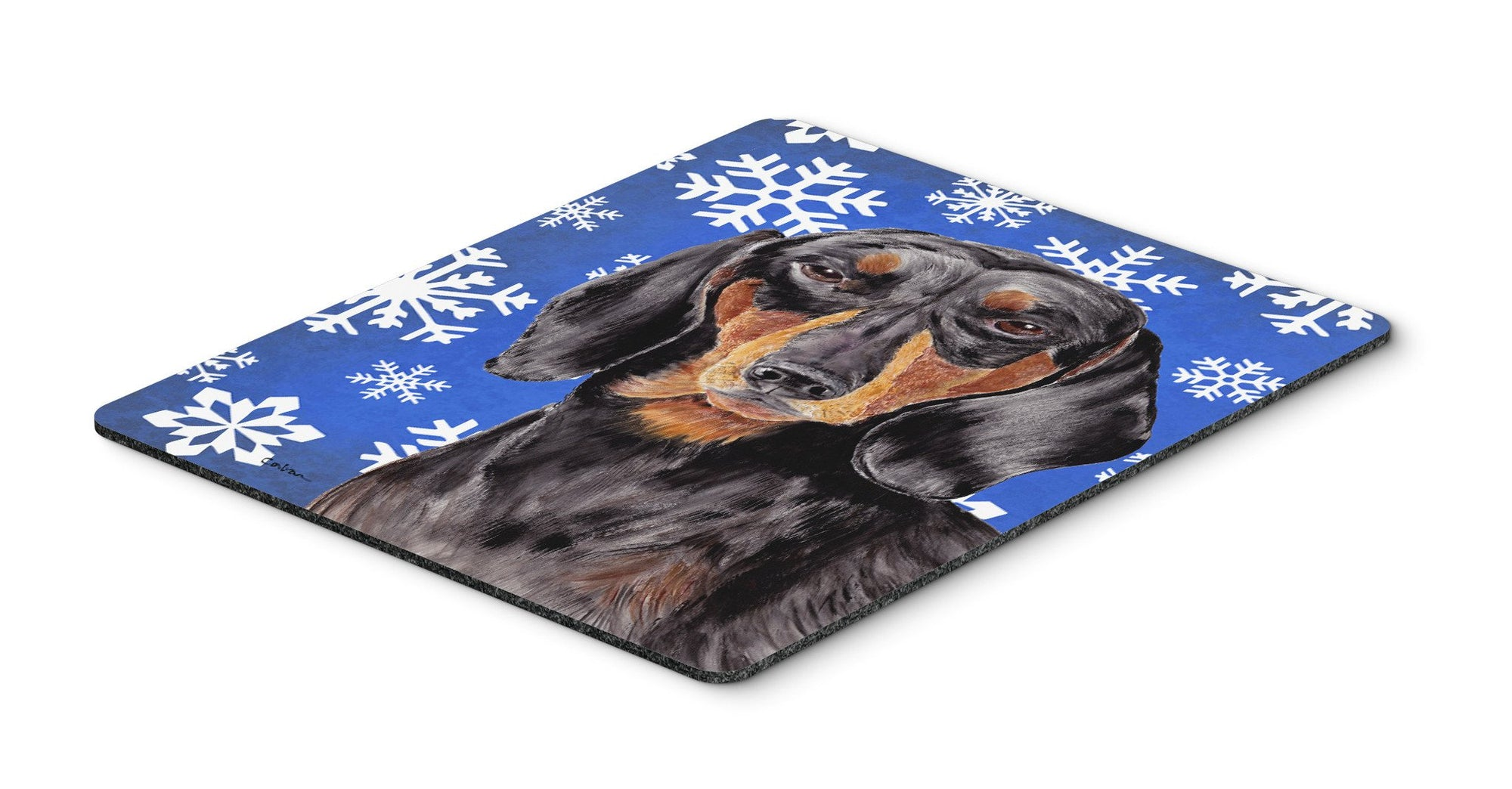 Dachshund Winter Snowflakes Holiday Mouse Pad, Hot Pad or Trivet by Caroline's Treasures