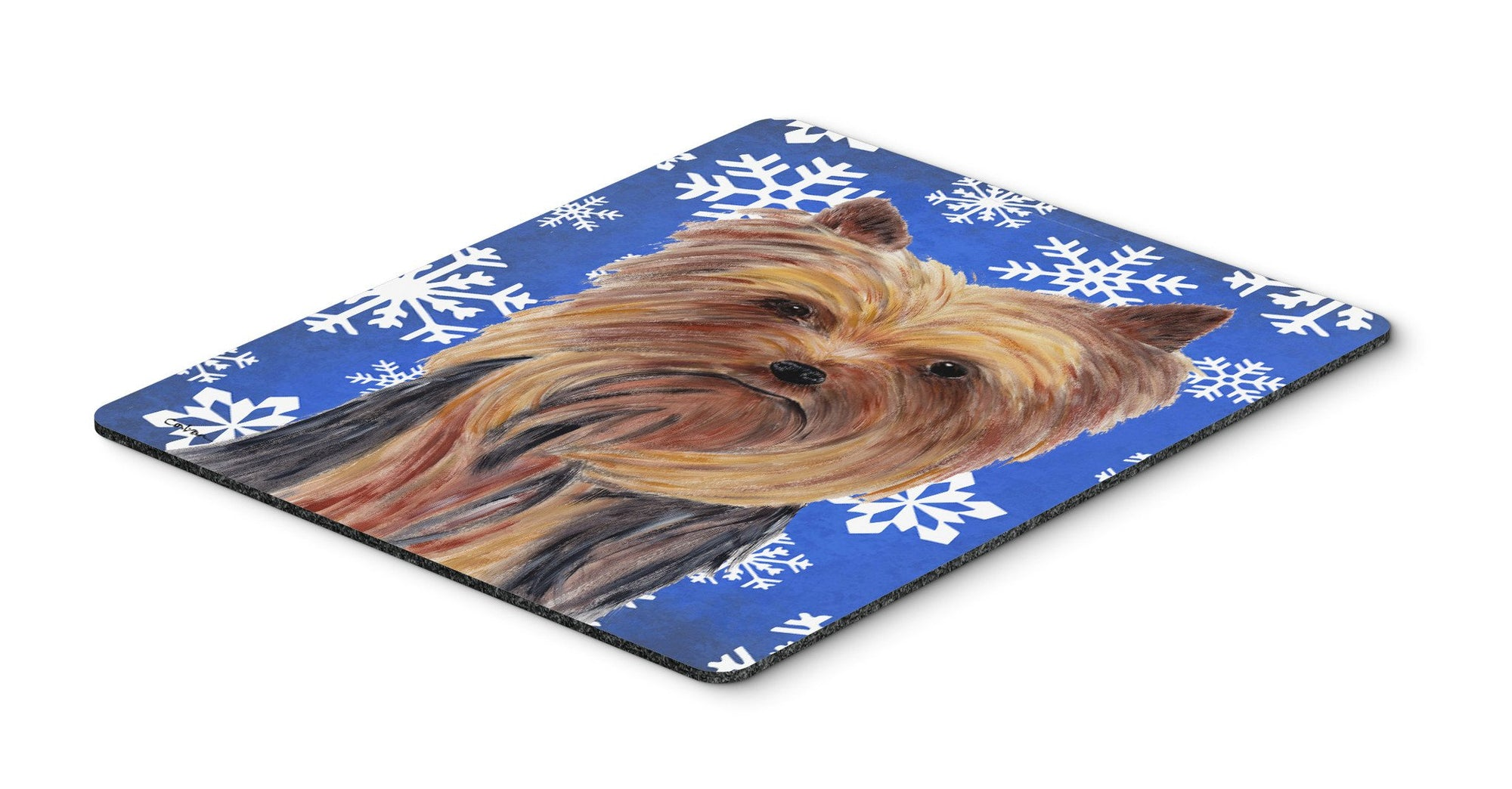 Buy this Yorkie Winter Snowflakes Holiday Mouse Pad, Hot Pad or Trivet