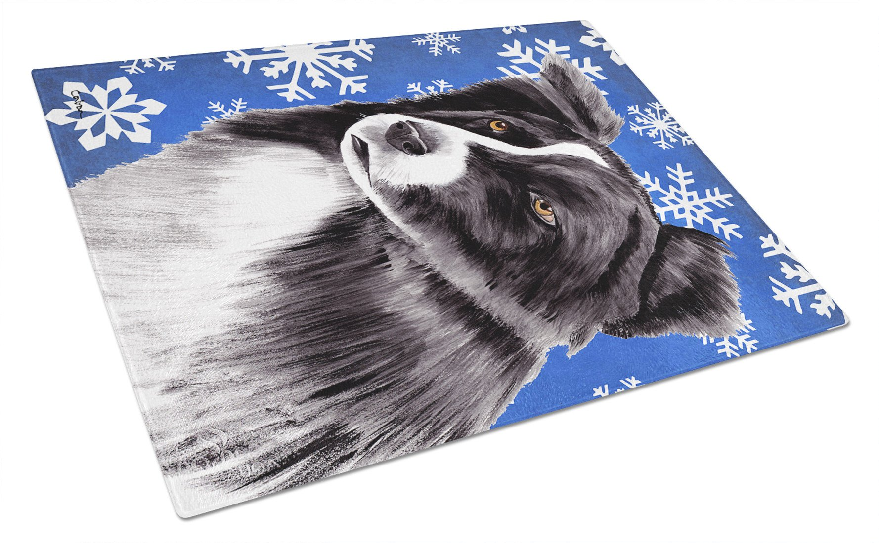 Border Collie Winter Snowflakes Holiday Glass Cutting Board Large by Caroline's Treasures