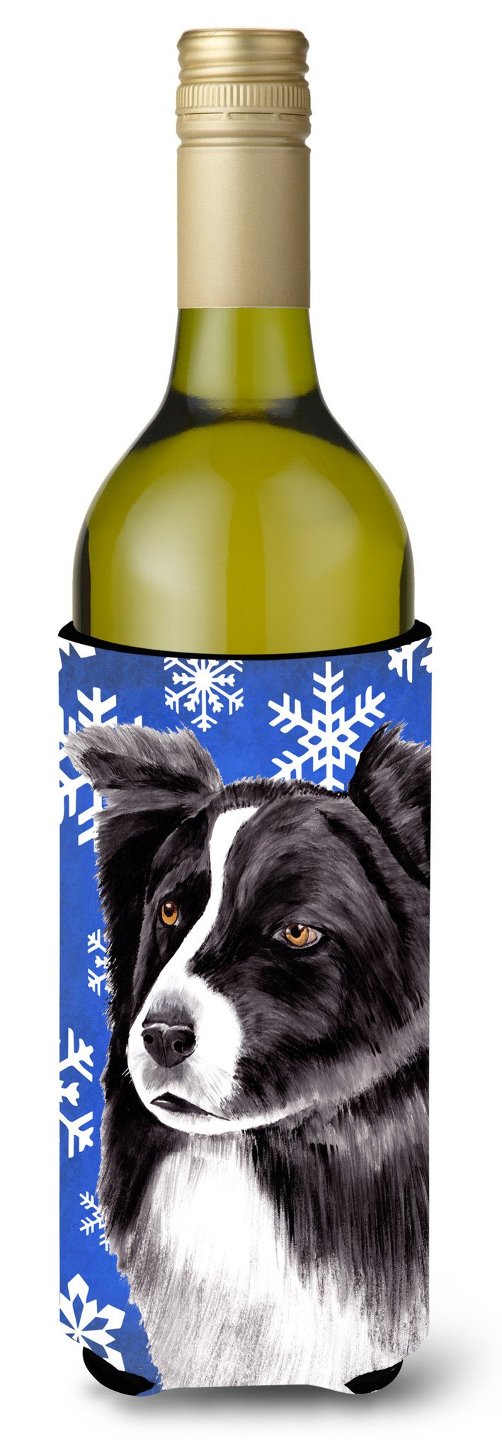 Border Collie Winter Snowflakes Holiday Wine Bottle Beverage Insulator Beverage Insulator Hugger by Caroline's Treasures
