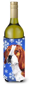 Beagle Winter Snowflakes Holiday Wine Bottle Beverage Insulator Beverage Insulator Hugger by Caroline's Treasures