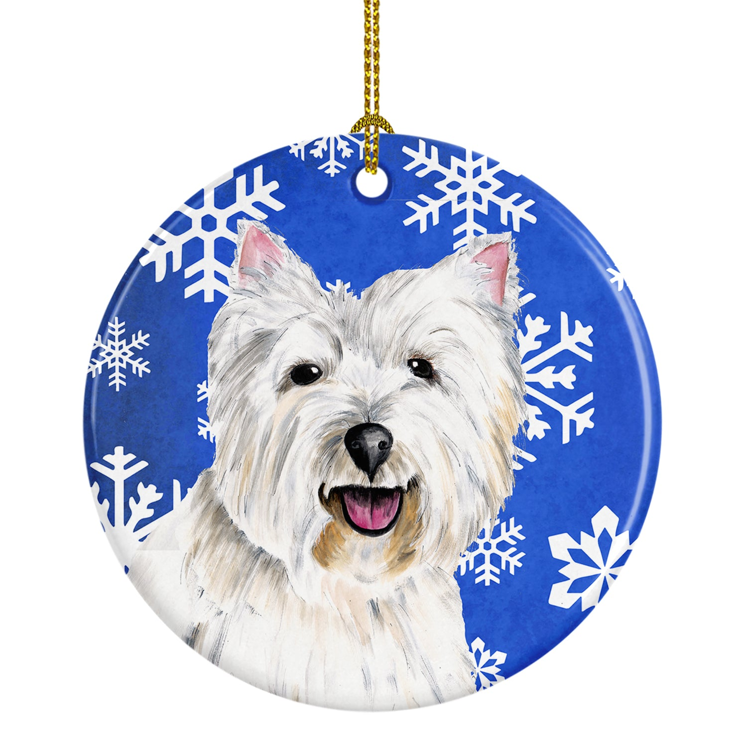 Westie Winter Snowflakes Holiday Ceramic Ornament SC9370 by Caroline's Treasures