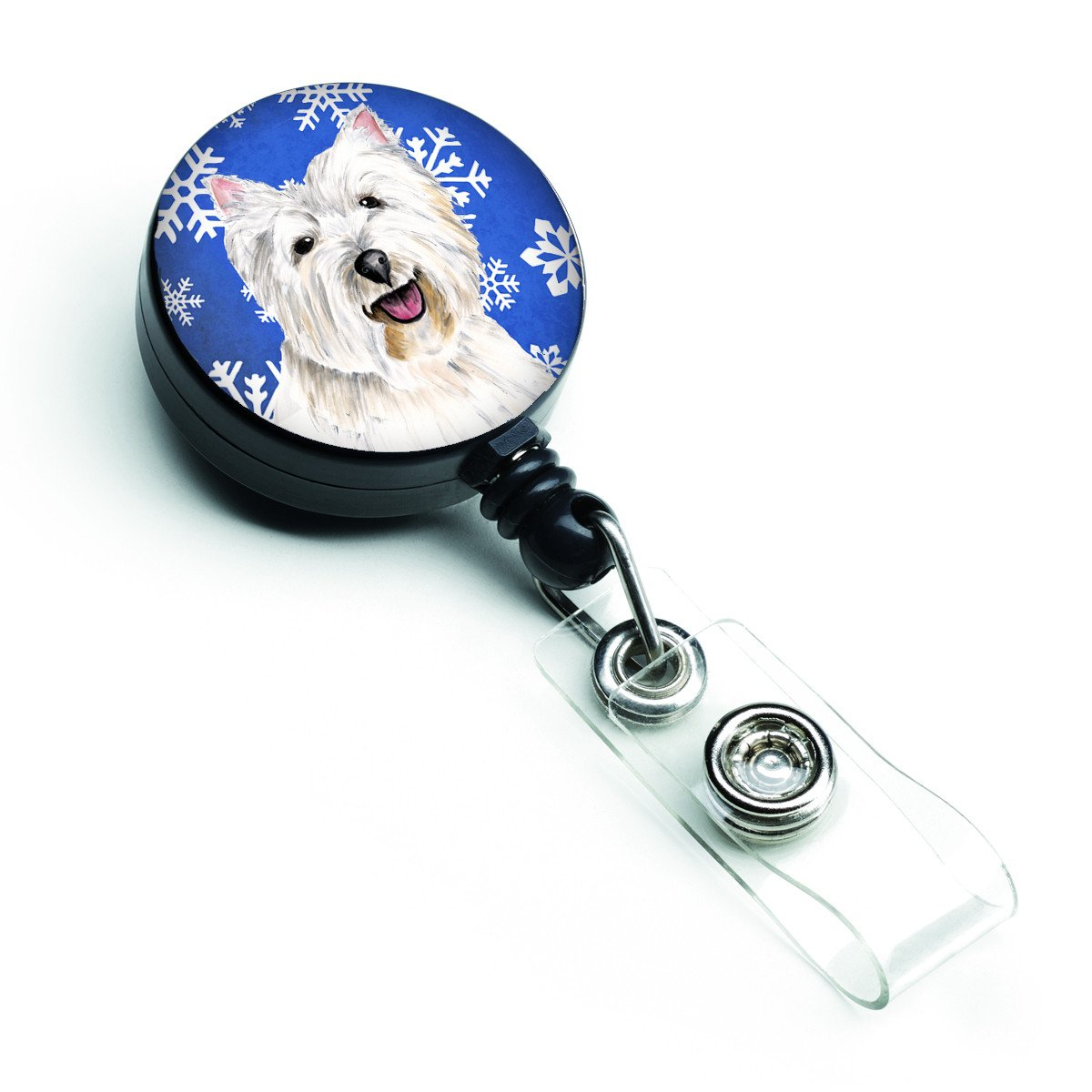 Westie Winter Snowflakes Holiday Retractable Badge Reel SC9370BR by Caroline's Treasures