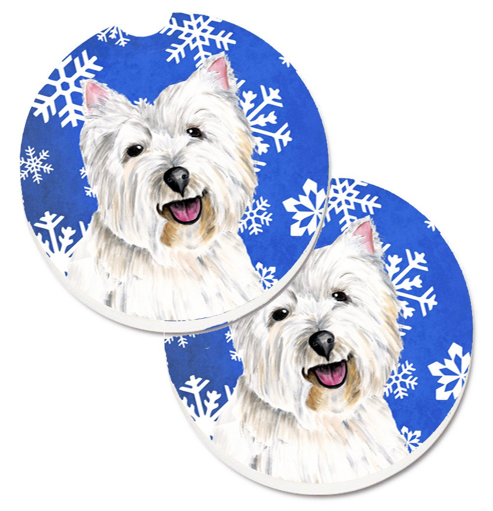 Westie Winter Snowflakes Holiday Set of 2 Cup Holder Car Coasters SC9370CARC by Caroline's Treasures
