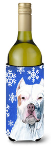 Buy this Pit Bull Winter Snowflakes Holiday Wine Bottle Beverage Insulator Beverage Insulator Hugger