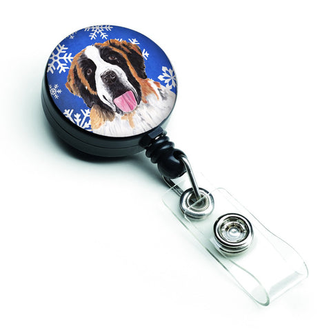 Buy this Saint Bernard Winter Snowflakes Holiday Retractable Badge Reel SC9382BR