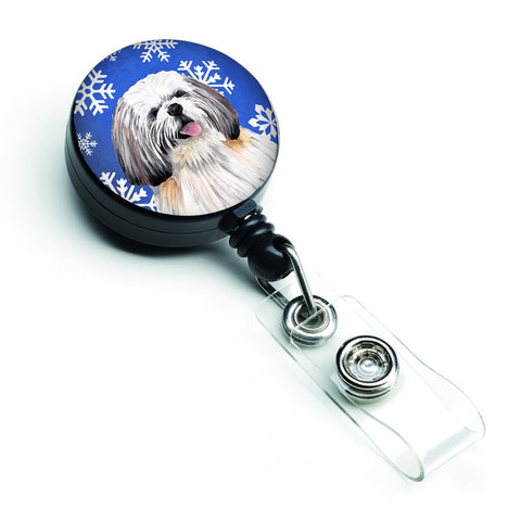 Buy this Shih Tzu Winter Snowflakes Holiday Retractable Badge Reel SC9383BR