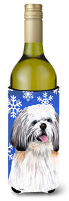 Shih Tzu Winter Snowflakes Holiday Wine Bottle Beverage Insulator Beverage Insulator Hugger by Caroline's Treasures