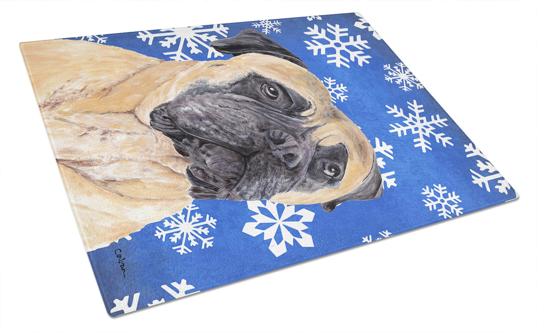 Mastiff Winter Snowflakes Holiday Glass Cutting Board Large by Caroline's Treasures
