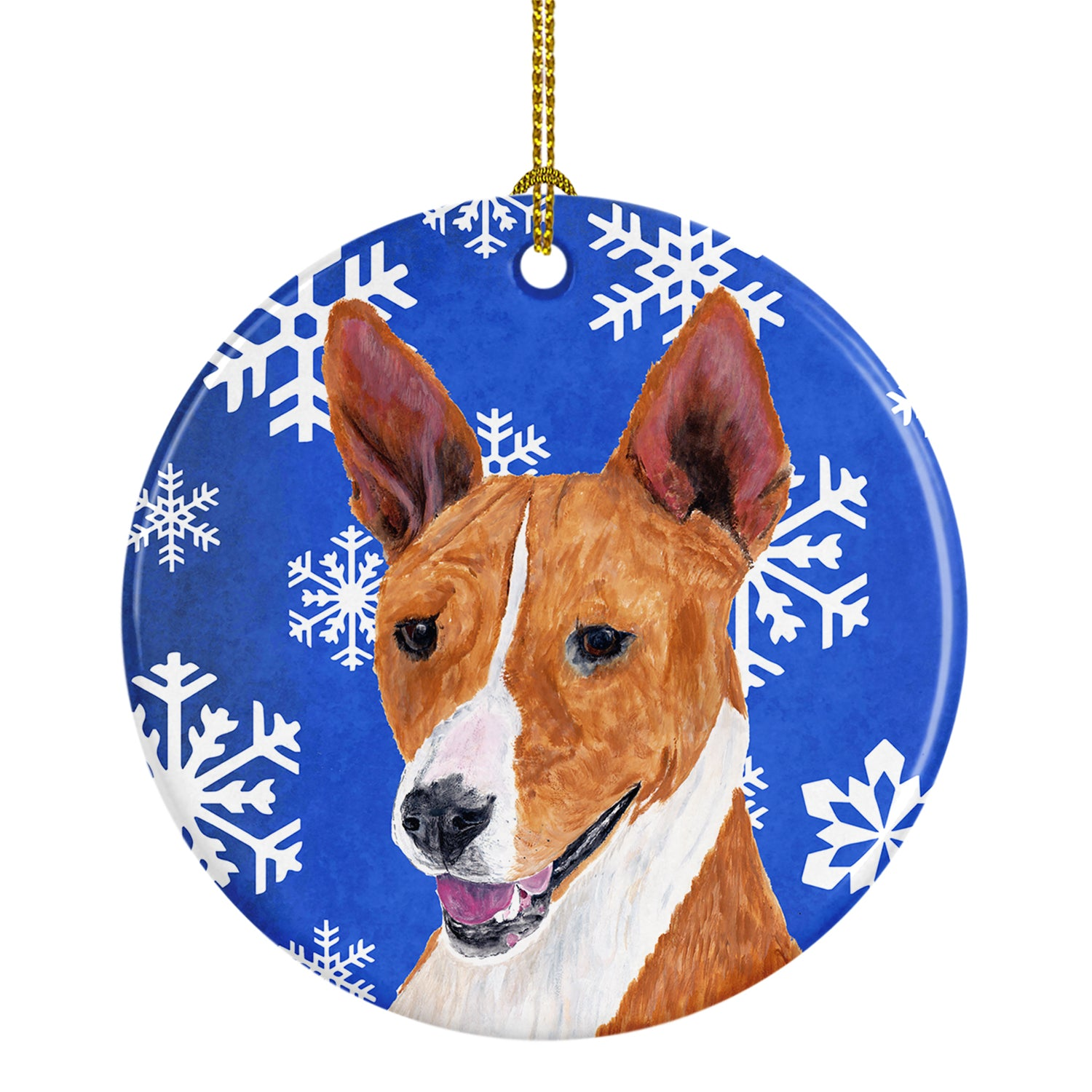 Basenji Winter Snowflakes Holiday Ceramic Ornament SC9387 by Caroline's Treasures