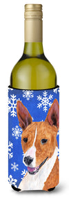 Basenji Winter Snowflakes Holiday Wine Bottle Beverage Insulator Beverage Insulator Hugger by Caroline's Treasures
