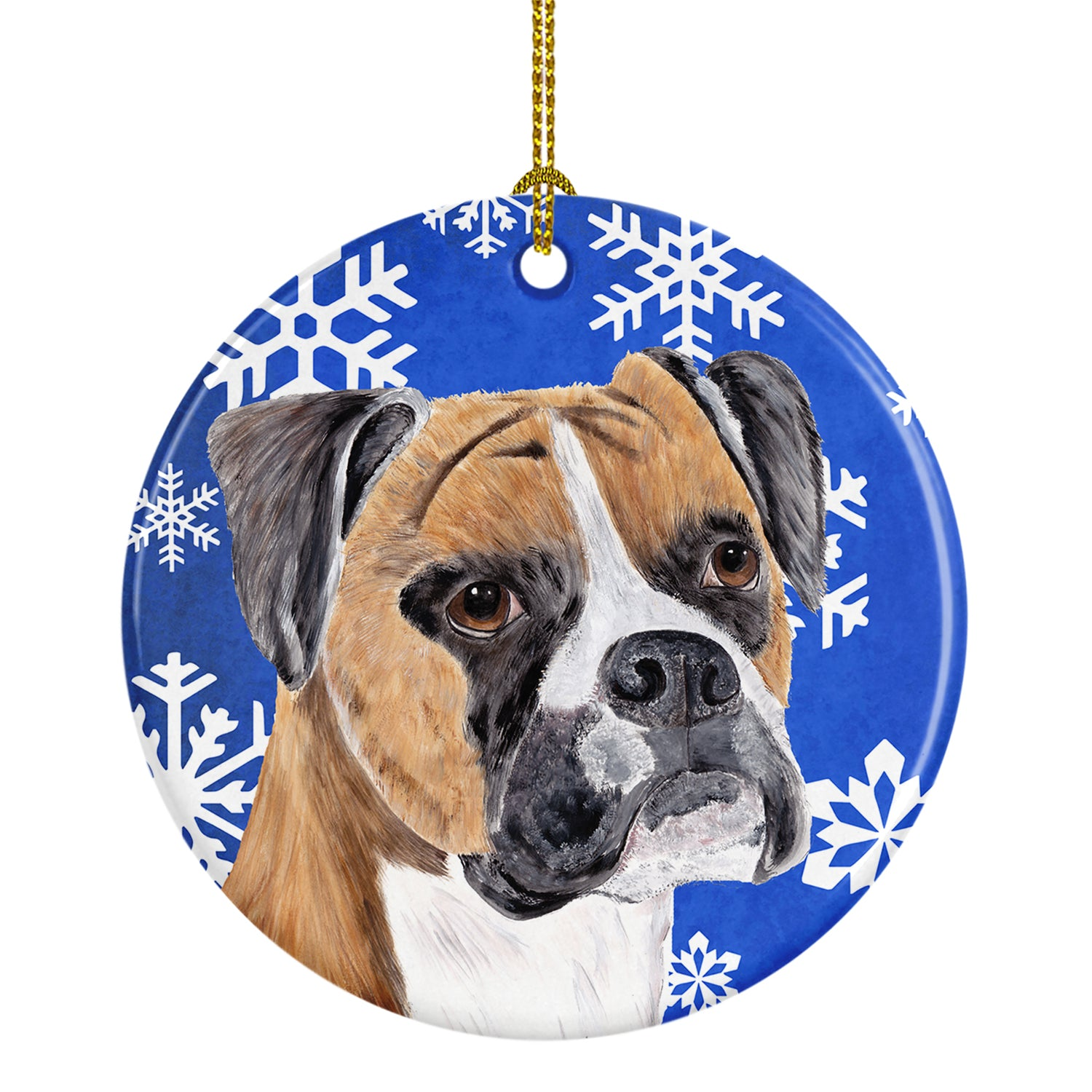 Boxer Winter Snowflakes Holiday Ceramic Ornament SC9390 by Caroline's Treasures
