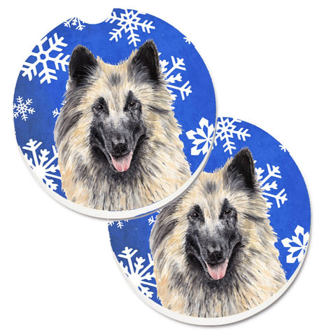 Buy this Belgian Tervuren Winter Snowflakes Holiday Set of 2 Cup Holder Car Coasters SC9392CARC