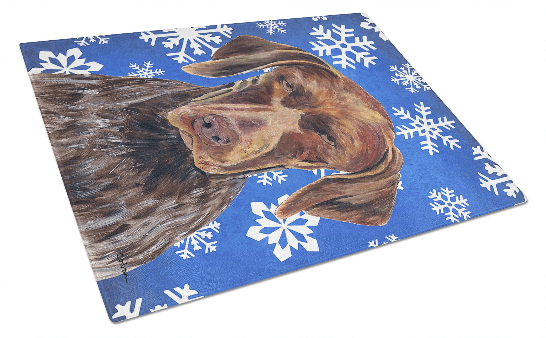 German Shorthaired Pointer Winter Snowflakes Holiday Glass Cutting Board Large by Caroline's Treasures