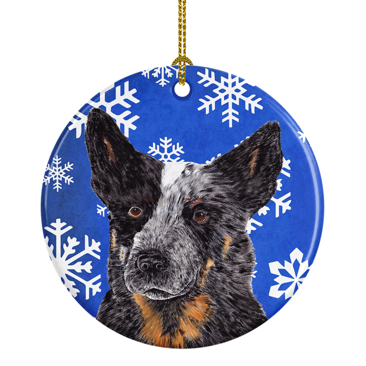 Australian Cattle Dog Winter Snowflakes Holiday Ceramic Ornament SC9396 by Caroline's Treasures