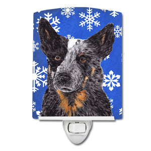 Buy this Australian Cattle Dog Winter Snowflakes Holiday Ceramic Night Light SC9396CNL