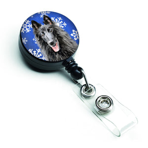 Buy this Belgian Sheepdog Winter Snowflakes Holiday Retractable Badge Reel SC9398BR