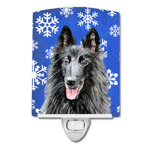 Buy this Belgian Sheepdog Winter Snowflakes Holiday Ceramic Night Light SC9398CNL