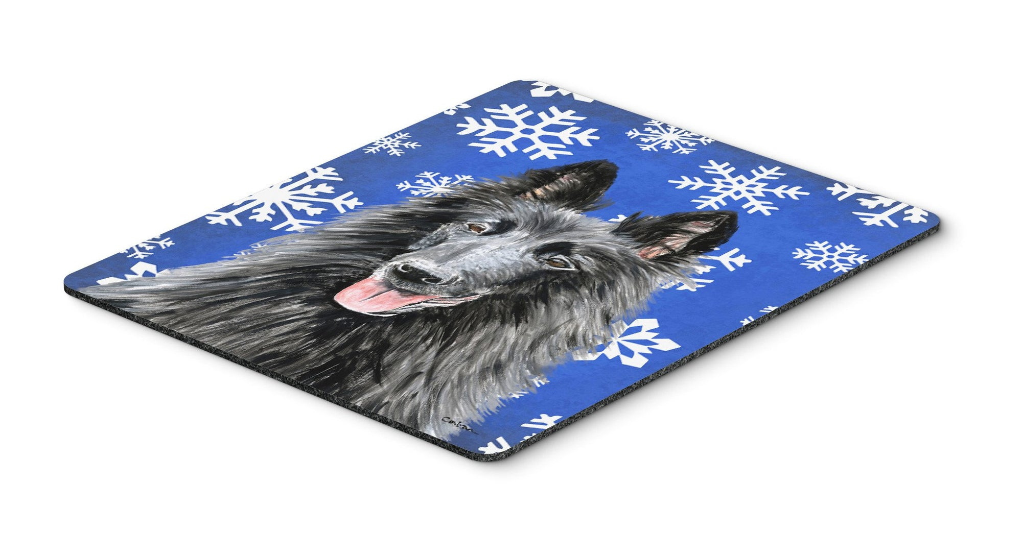 Belgian Sheepdog Winter Snowflakes Holiday Mouse Pad, Hot Pad or Trivet by Caroline's Treasures
